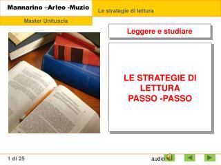 LE STRATEGIE  DI  LETTURA PASSO -PASSO