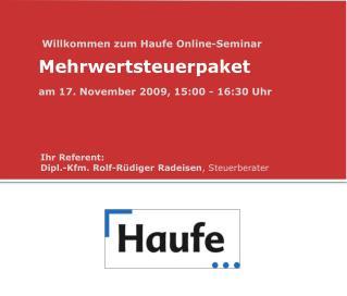 Willkommen zum Haufe Online-Seminar