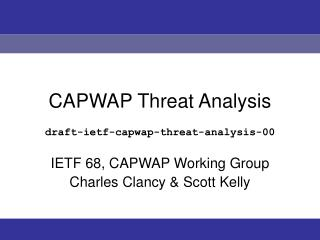 CAPWAP Threat Analysis