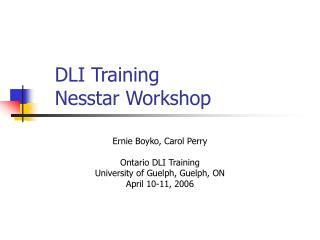 DLI Training Nesstar Workshop