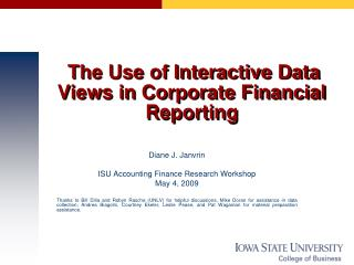 The Use of Interactive Data Views in Corporate Financial Reporting