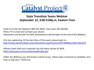 State Transition Teams Webinar   September 12, 3:00-4:00p.m. Eastern Time