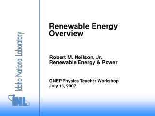 Renewable Energy Overview