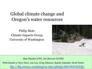 Global climate change and Oregon's water resources