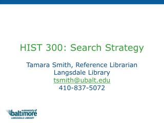 HIST 300: Search Strategy