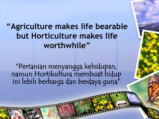 �Agriculture makes life bearable but Horticulture makes life worthwhile�