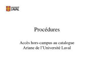 Procédures
