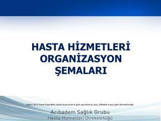 HASTA HİZMETLERİ ORGANİZASYON ŞEMALARI