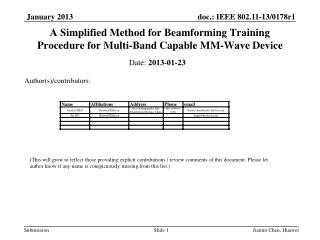 A Simplified Method for Beamforming Training Procedure for Multi-Band Capable MM-Wave Device