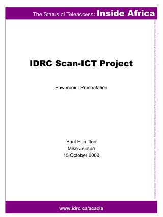 IDRC Scan-ICT Project Powerpoint Presentation