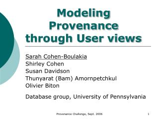 Modeling Provenance  through User views