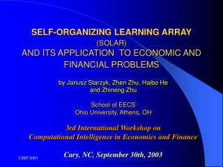 SELF-ORGANIZING LEARNING ARRAY (SOLAR) AND ITS APPLICATION  TO ECONOMIC AND FINANCIAL PROBLEMS