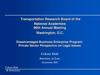 Transportation Research Board of the  National Academies 90th Annual Meeting Washington, D.C.