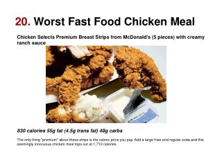 20.  Worst Fast Food Chicken Meal
