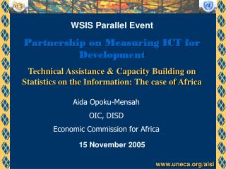 WSIS Parallel Event Partnership on Measuring ICT for Development