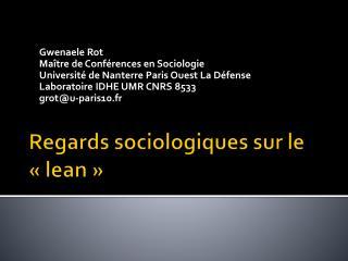 Regards sociologiques sur le « lean »