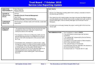 Trust Board - 7 October 2010 Service Line Reporting Update