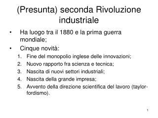 (Presunta) seconda Rivoluzione industriale