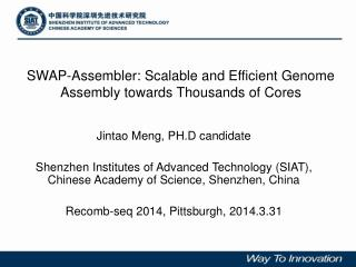 SWAP-Assembler: Scalable and Efficient Genome Assembly towards Thousands of Cores