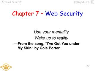 Chapter 7 – Web Security