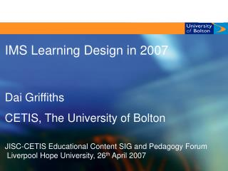 IMS Learning Design in 2007