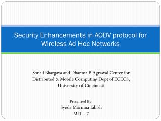 Security Enhancements in AODV protocol for Wireless Ad Hoc Networks
