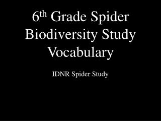 6 th  Grade Spider Biodiversity Study Vocabulary