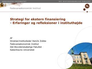 Strategi for ekstern finansiering - Erfaringer og refleksioner i instituthøjde