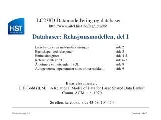 Databaser: Relasjonsmodellen, del I