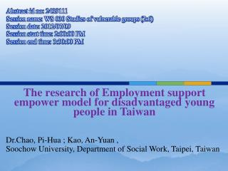 The research of Employment support empower model for disadvantaged young people in Taiwan