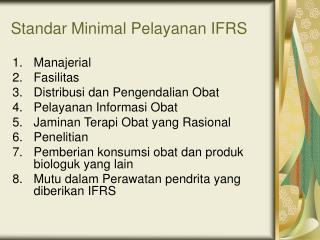 Standar Minimal Pelayanan IFRS