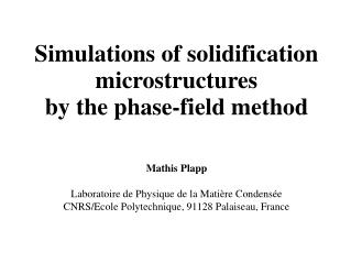 Simulations of solidification microstructures  by the phase-field method