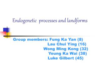 Endogenetic  processes and landforms