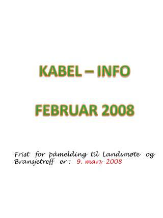 KABEL – INFO FEBRUAR 2008