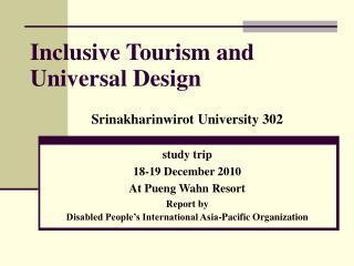 Inclusive Tourism and Universal Design