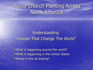 House Church Planting Across North America