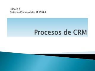 Procesos de CRM