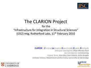 CLARION  –  C hemical  La boratory  R epository  I n/ O rganic  N otebooks