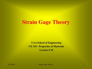 Strain Gage Theory