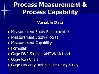 Process Measurement  Process Capability  Variable Data