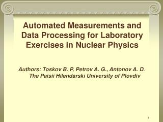 Automated Measurements and Data Processing for Laboratory Exercises  in  Nuclear Physics