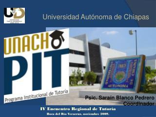 IV Encuentro Regional de Tutoría  Boca del Río Veracruz, noviembre 2009.