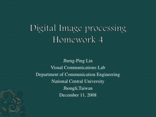 Digital Image processing Homework 4