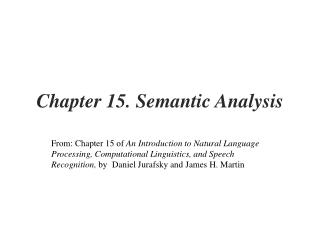 Chapter 15. Semantic Analysis