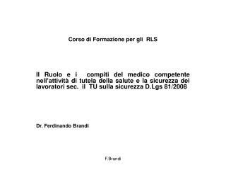 Corso di Formazione per gli  RLS