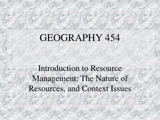 GEOGRAPHY 454