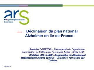 Déclinaison du plan national Alzheimer en Ile-de-France