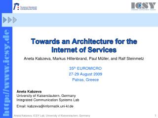 Towards an Architecture for the  Internet of Services
