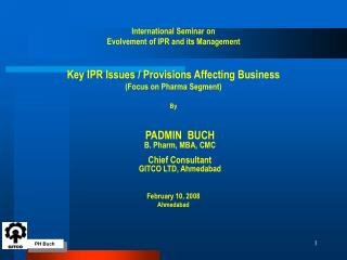 International Seminar on  Evolvement of IPR and its Management