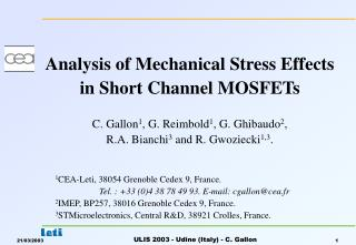Analysis of Mechanical Stress Effects  in Short Channel MOSFETs